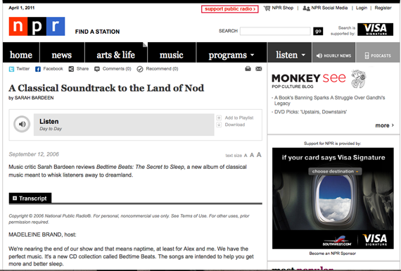 screen shot of NPR website
